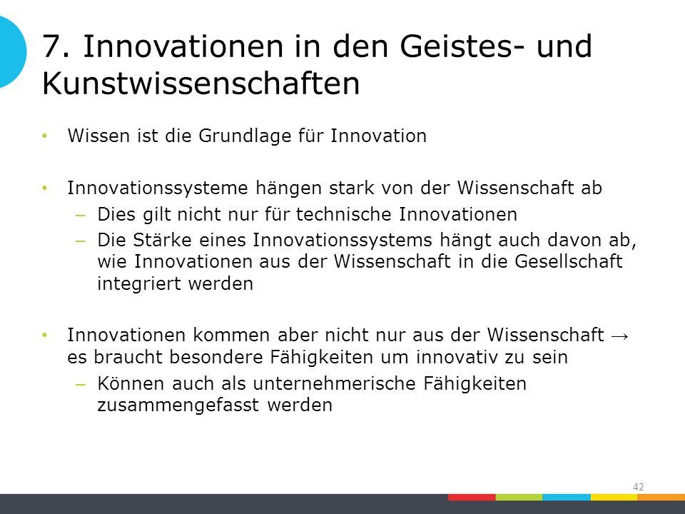 7. Innovationen in den Geistes- und Kunstwissenschaften Wissen ist die Grundlage für Innovation Innovationssysteme hängen stark von der Wissenschaft a