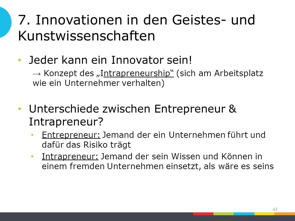 7. Innovationen in den Geistes- und Kunstwissenschaften Jeder kann ein Innovator sein.