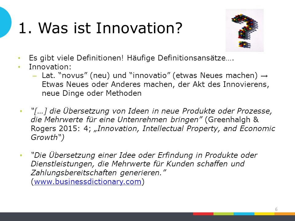 1. Was ist Innovation. Es gibt viele Definitionen.
