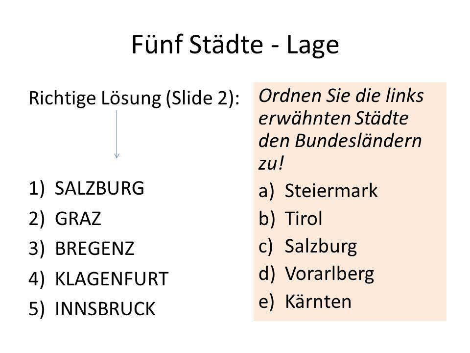Fünf Städte - Lage Richtige Lösung (Slide 2): 1)SALZBURG 2)GRAZ 3)BREGENZ 4)KLAGENFURT 5)INNSBRUCK Ordnen Sie die links erwähnten Städte den Bundesländern zu.