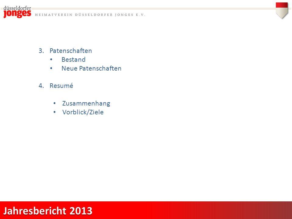 3.Patenschaften Bestand Neue Patenschaften 4.Resumé Zusammenhang Vorblick/Ziele