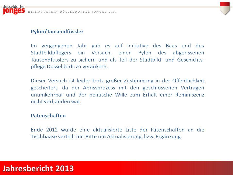 Pylon/Tausendfüssler Im vergangenen Jahr gab es auf Initiative des Baas und des Stadtbildpflegers ein Versuch, einen Pylon des abgerissenen Tausendfüsslers zu sichern und als Teil der Stadtbild- und Geschichts- pflege Düsseldorfs zu verankern.