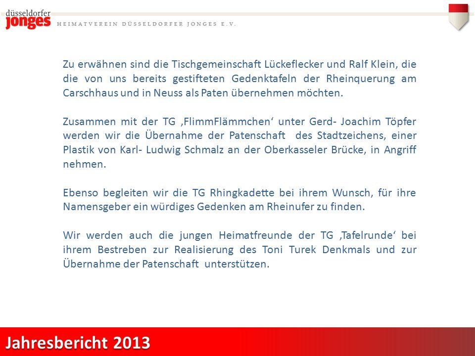 Zu erwähnen sind die Tischgemeinschaft Lückeflecker und Ralf Klein, die die von uns bereits gestifteten Gedenktafeln der Rheinquerung am Carschhaus und in Neuss als Paten übernehmen möchten.