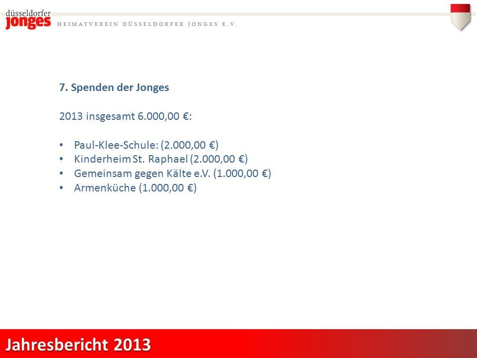 7. Spenden der Jonges 2013 insgesamt 6.000,00 €: Paul-Klee-Schule: (2.000,00 €) Kinderheim St.