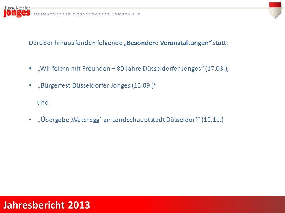 """Darüber hinaus fanden folgende """"Besondere Veranstaltungen statt: """"Wir feiern mit Freunden – 80 Jahre Düsseldorfer Jonges (17.03.), """"Bürgerfest Düsseldorfer Jonges (13.09.) und """"Übergabe 'Wateregg` an Landeshauptstadt Düsseldorf (19.11.)"""