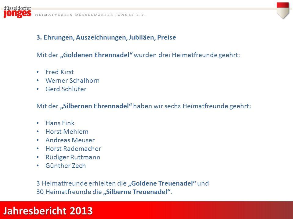 """3. Ehrungen, Auszeichnungen, Jubiläen, Preise Mit der """"Goldenen Ehrennadel"""" wurden drei Heimatfreunde geehrt: Fred Kirst Werner Schalhorn Gerd Schlüte"""