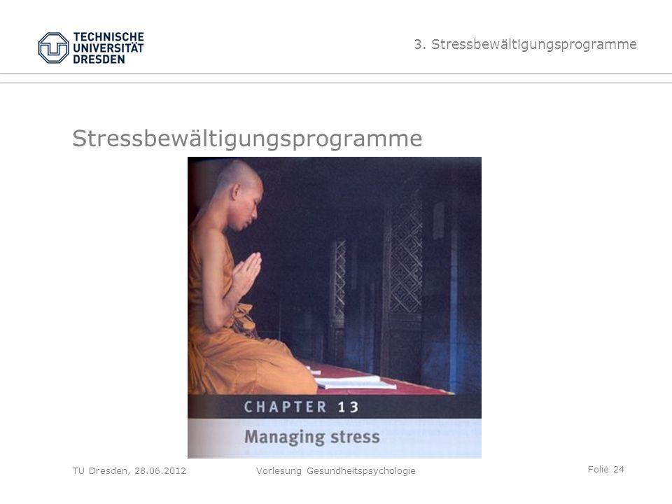 Folie 24 TU Dresden, 28.06.2012Vorlesung Gesundheitspsychologie Stressbewältigungsprogramme 3.
