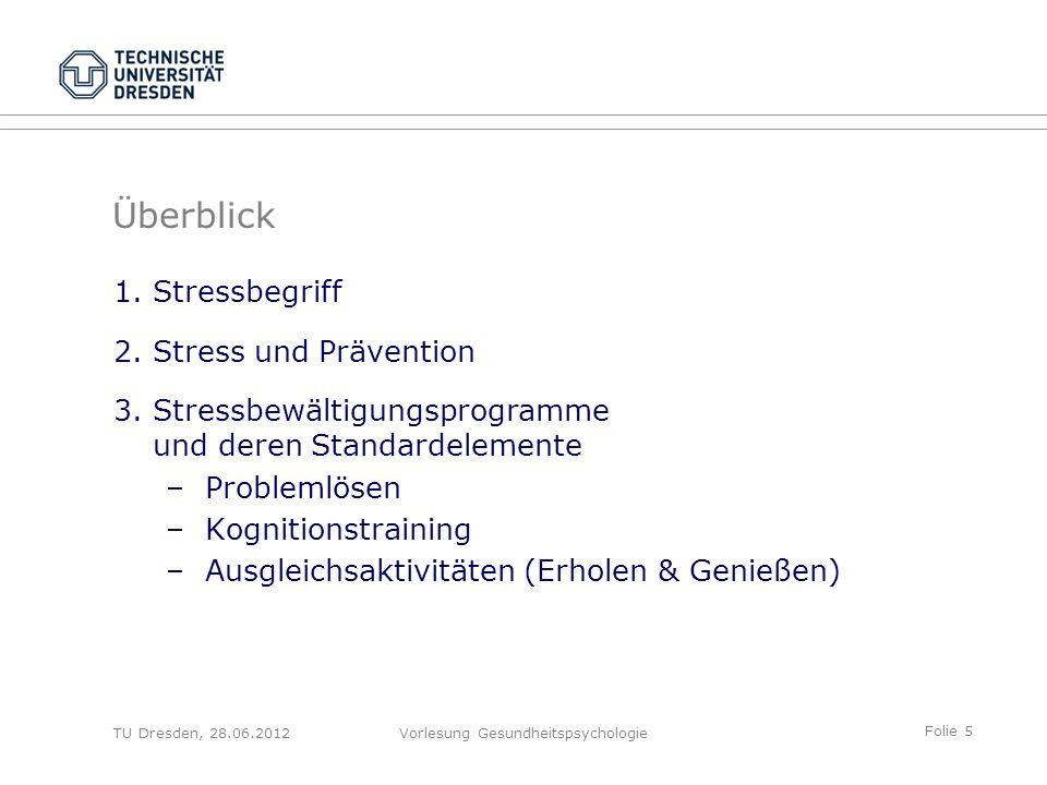 Folie 16 TU Dresden, 28.06.2012Vorlesung Gesundheitspsychologie Kaluza (2004) 1. Stressbegriff