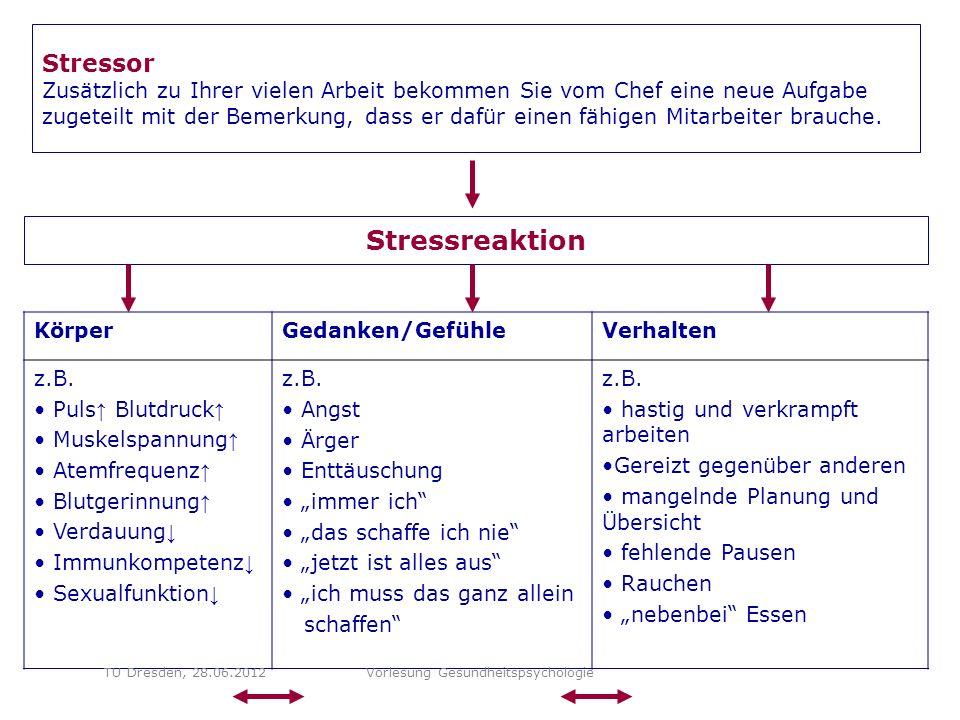 Stressor Zusätzlich zu Ihrer vielen Arbeit bekommen Sie vom Chef eine neue Aufgabe zugeteilt mit der Bemerkung, dass er dafür einen fähigen Mitarbeiter brauche.