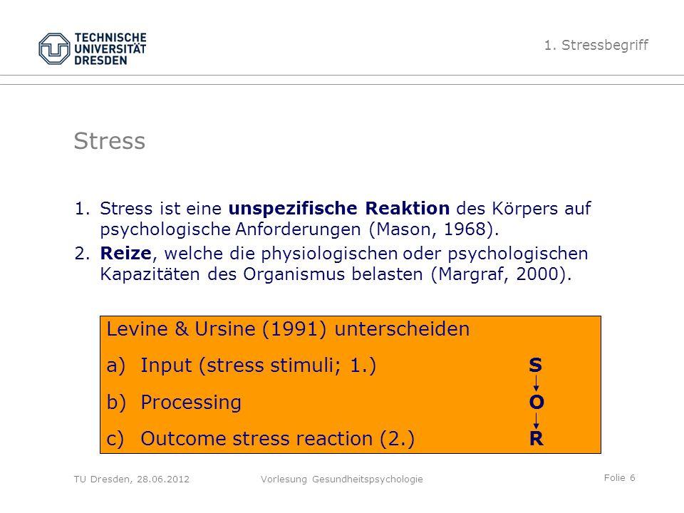 Folie 6 TU Dresden, 28.06.2012Vorlesung Gesundheitspsychologie 1.Stress ist eine unspezifische Reaktion des Körpers auf psychologische Anforderungen (Mason, 1968).