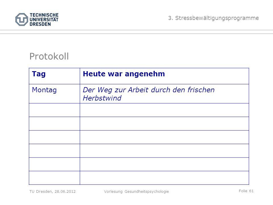 Folie 61 TU Dresden, 28.06.2012Vorlesung Gesundheitspsychologie TagHeute war angenehm MontagDer Weg zur Arbeit durch den frischen Herbstwind Protokoll 3.