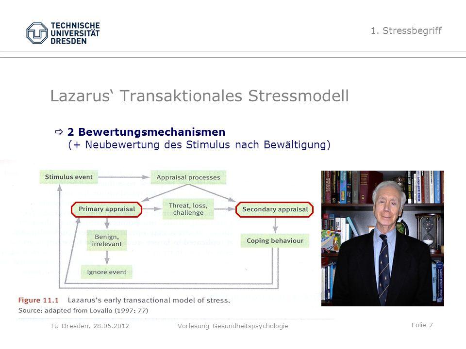 Folie 7 TU Dresden, 28.06.2012Vorlesung Gesundheitspsychologie Lazarus' Transaktionales Stressmodell 1.