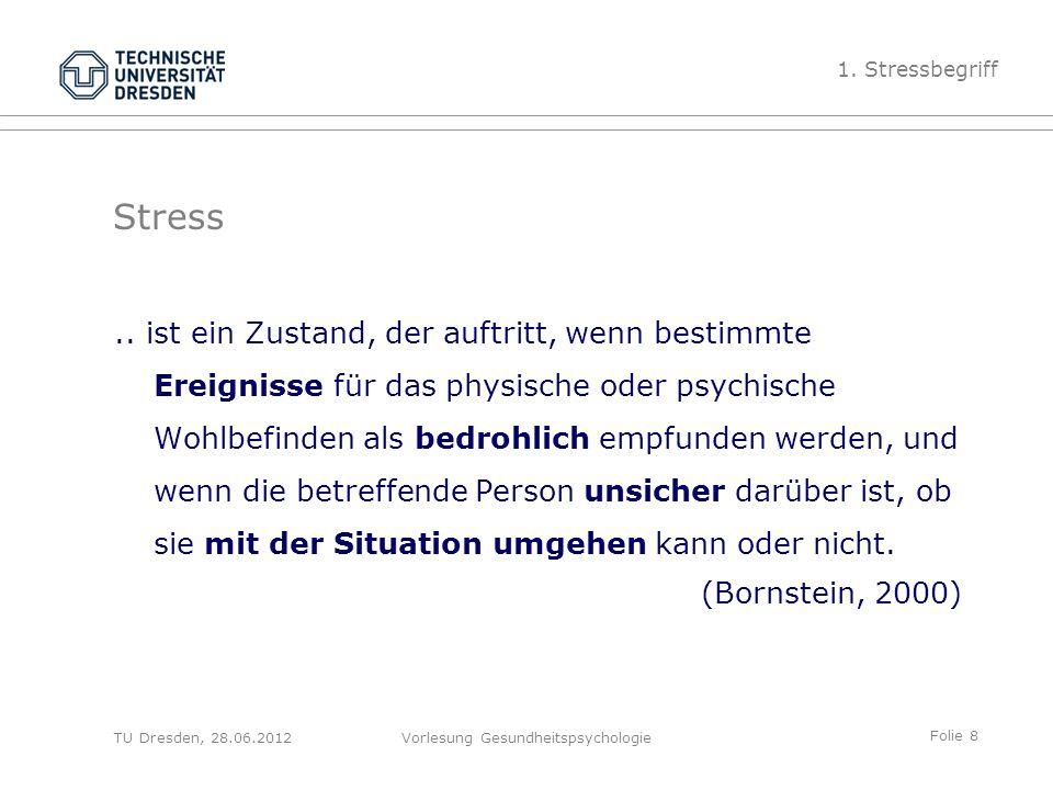 Folie 9 TU Dresden, 28.06.2012Vorlesung Gesundheitspsychologie Stress als Diskrepanz zwischen Ist und Soll (Umwelt und Person) Anforderungen 1.