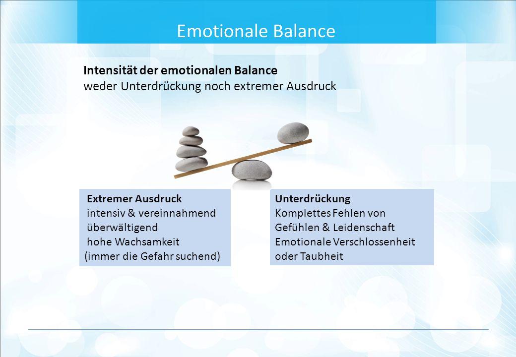 Intensität der emotionalen Balance weder Unterdrückung noch extremer Ausdruck Emotionale Balance Unterdrückung Komplettes Fehlen von Gefühlen & Leidenschaft Emotionale Verschlossenheit oder Taubheit Extremer Ausdruck intensiv & vereinnahmend überwältigend hohe Wachsamkeit (immer die Gefahr suchend)