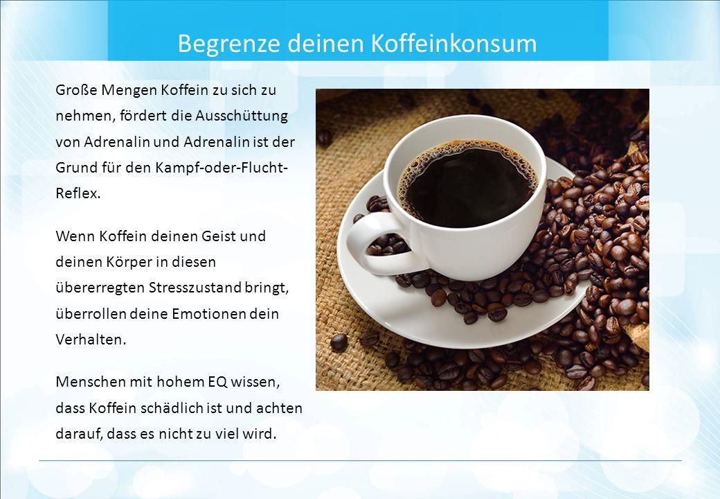 Große Mengen Koffein zu sich zu nehmen, fördert die Ausschüttung von Adrenalin und Adrenalin ist der Grund für den Kampf-oder-Flucht- Reflex.