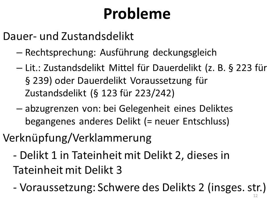 Probleme Dauer- und Zustandsdelikt – Rechtsprechung: Ausführung deckungsgleich – Lit.: Zustandsdelikt Mittel für Dauerdelikt (z. B. § 223 für § 239) o
