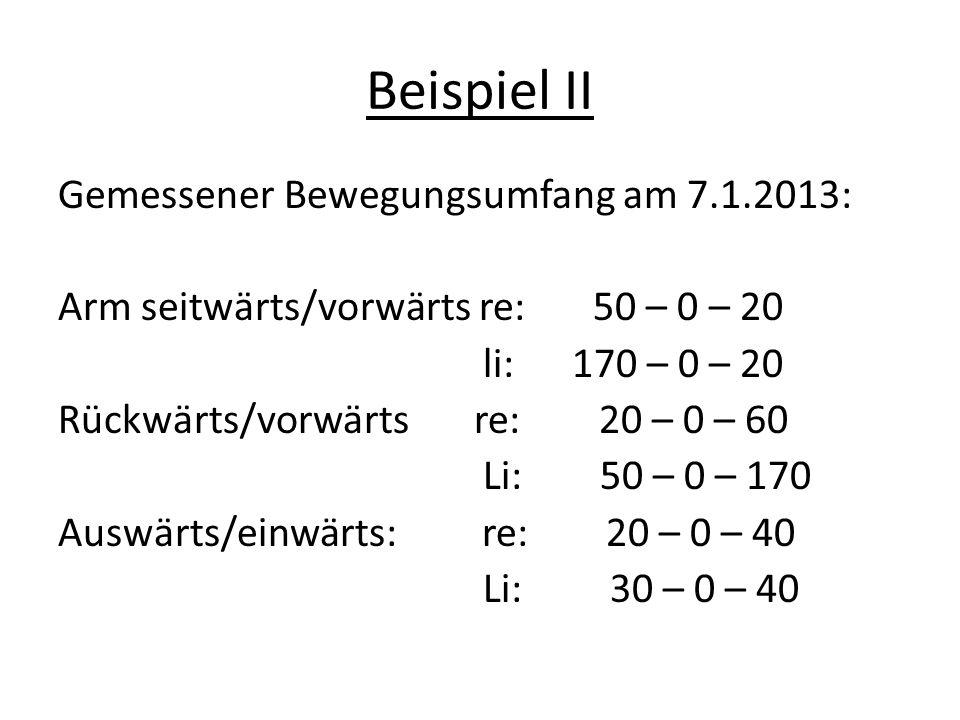 Beispiel II Gemessener Bewegungsumfang am 7.1.2013: Arm seitwärts/vorwärts re: 50 – 0 – 20 li: 170 – 0 – 20 Rückwärts/vorwärts re: 20 – 0 – 60 Li: 50 – 0 – 170 Auswärts/einwärts: re: 20 – 0 – 40 Li: 30 – 0 – 40