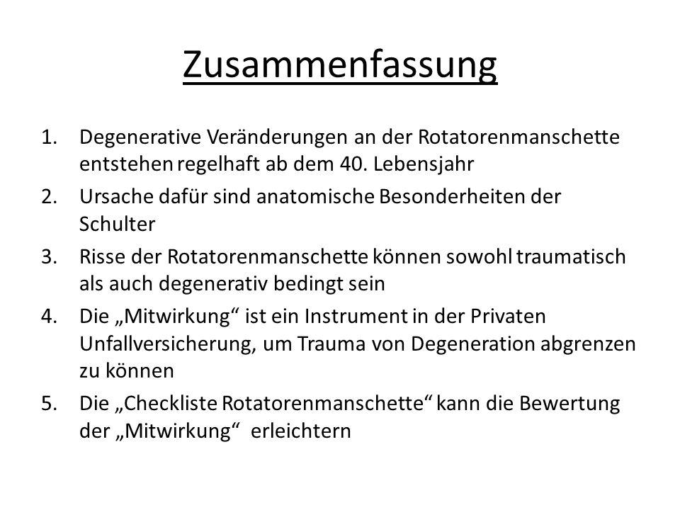 Zusammenfassung 1.Degenerative Veränderungen an der Rotatorenmanschette entstehen regelhaft ab dem 40.