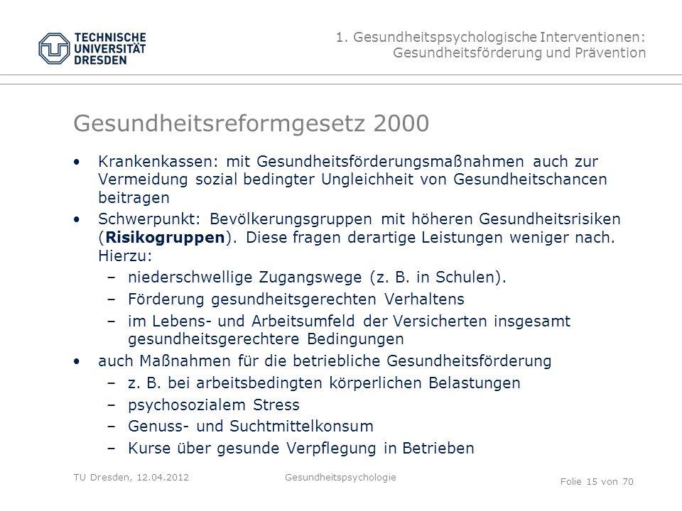 TU Dresden, 12.04.2012 Gesundheitsreformgesetz 2000 Krankenkassen: mit Gesundheitsförderungsmaßnahmen auch zur Vermeidung sozial bedingter Ungleichheit von Gesundheitschancen beitragen Schwerpunkt: Bevölkerungsgruppen mit höheren Gesundheitsrisiken (Risikogruppen).