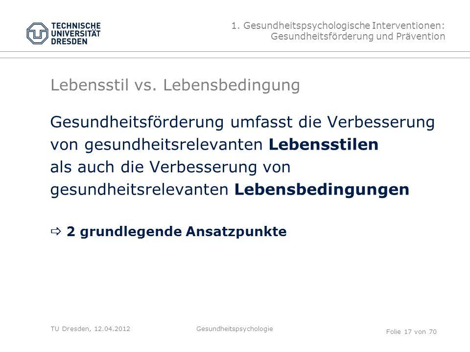 TU Dresden, 12.04.2012 Lebensstil vs.