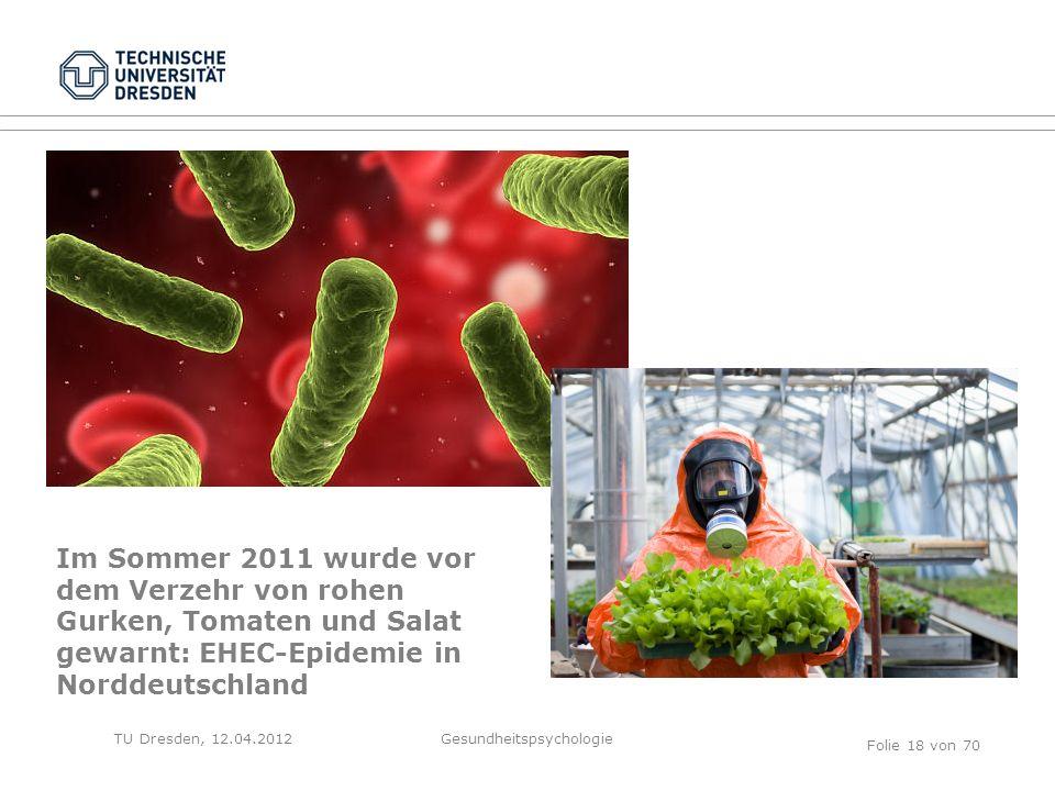 TU Dresden, 12.04.2012 Im Sommer 2011 wurde vor dem Verzehr von rohen Gurken, Tomaten und Salat gewarnt: EHEC-Epidemie in Norddeutschland Folie 18 von 70 Gesundheitspsychologie