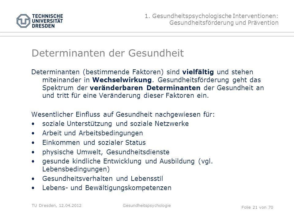 TU Dresden, 12.04.2012 Determinanten der Gesundheit Determinanten (bestimmende Faktoren) sind vielfältig und stehen miteinander in Wechselwirkung.