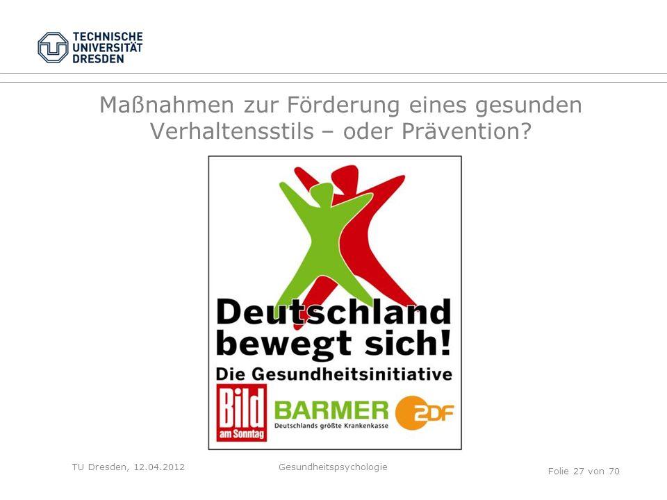 TU Dresden, 12.04.2012 Maßnahmen zur Förderung eines gesunden Verhaltensstils – oder Prävention.