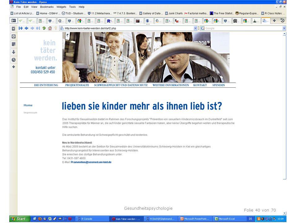 TU Dresden, 12.04.2012 Folie 40 von 70 Gesundheitspsychologie