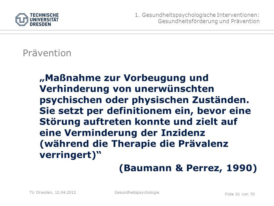 """TU Dresden, 12.04.2012 Prävention """"Maßnahme zur Vorbeugung und Verhinderung von unerwünschten psychischen oder physischen Zuständen."""