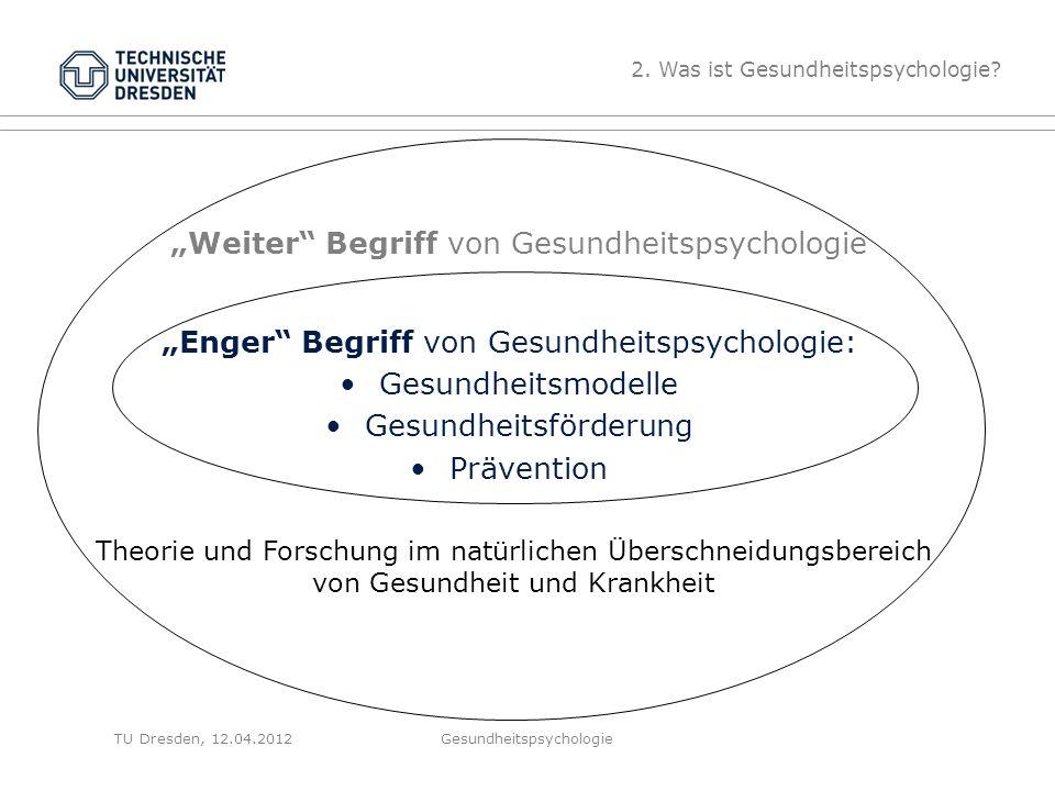 """TU Dresden, 12.04.2012 """"Weiter Begriff von Gesundheitspsychologie """"Enger Begriff von Gesundheitspsychologie: Gesundheitsmodelle Gesundheitsförderung Prävention 2."""
