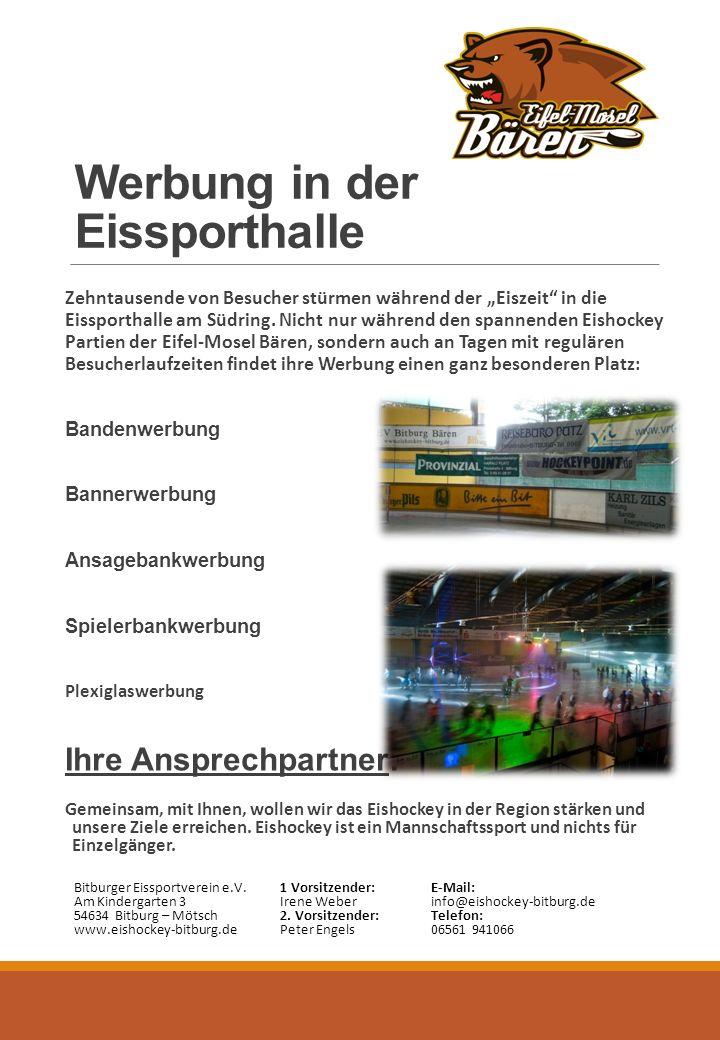 """Werbung in der Eissporthalle Zehntausende von Besucher stürmen während der """"Eiszeit in die Eissporthalle am Südring."""