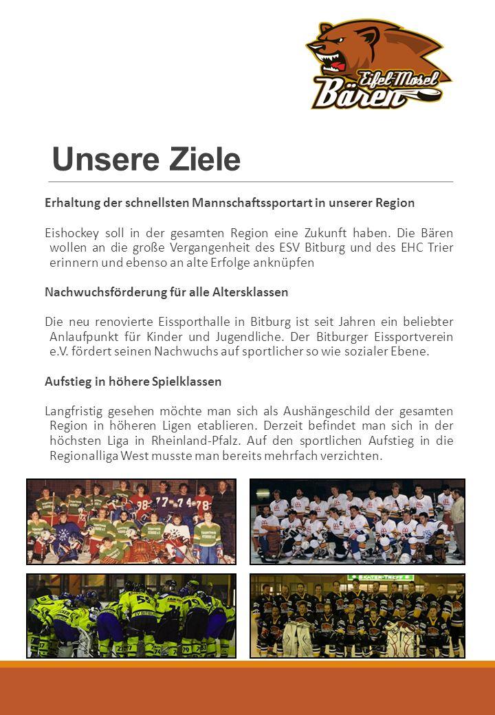 Unsere Ziele Erhaltung der schnellsten Mannschaftssportart in unserer Region Eishockey soll in der gesamten Region eine Zukunft haben.
