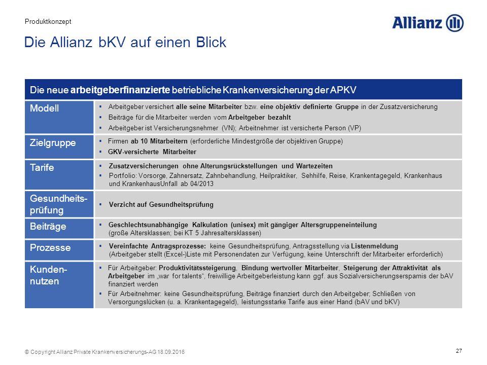 27 © Copyright Allianz Private Krankenversicherungs-AG 18.09.2016 Die Allianz bKV auf einen Blick Die neue arbeitgeberfinanzierte betriebliche Krankenversicherung der APKV Modell  Arbeitgeber versichert alle seine Mitarbeiter bzw.