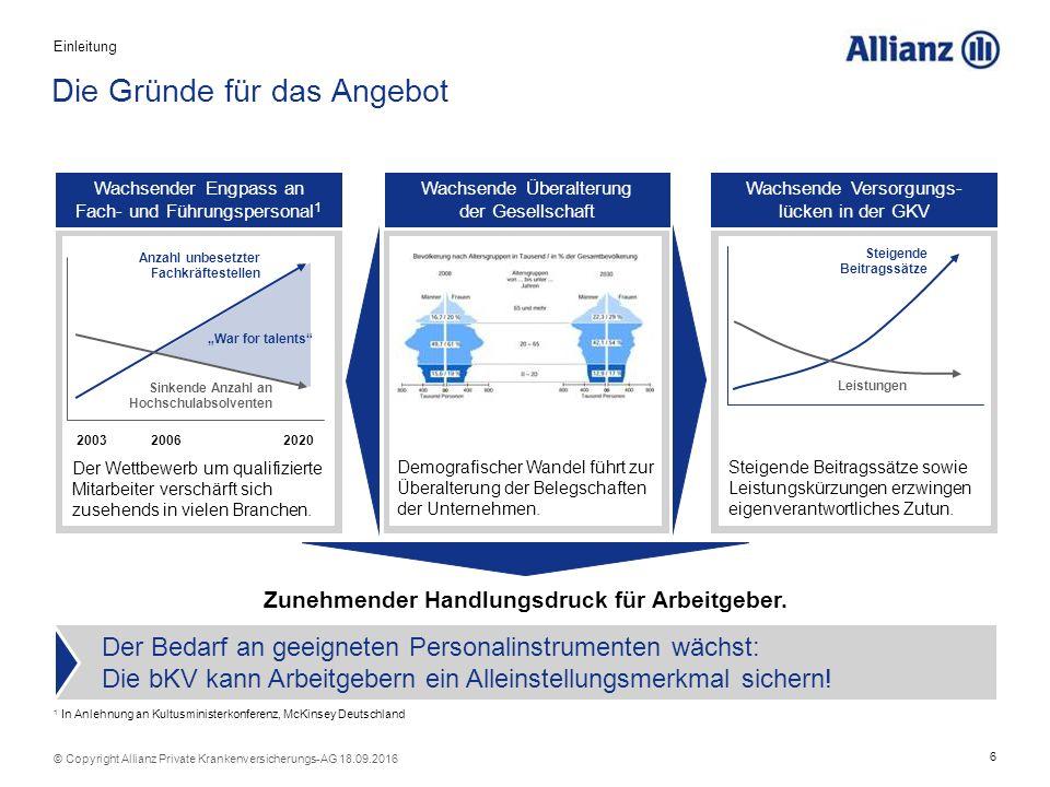 7 © Copyright Allianz Private Krankenversicherungs-AG 18.09.2016 1 2 Verkaufs- und Vertriebsargumente