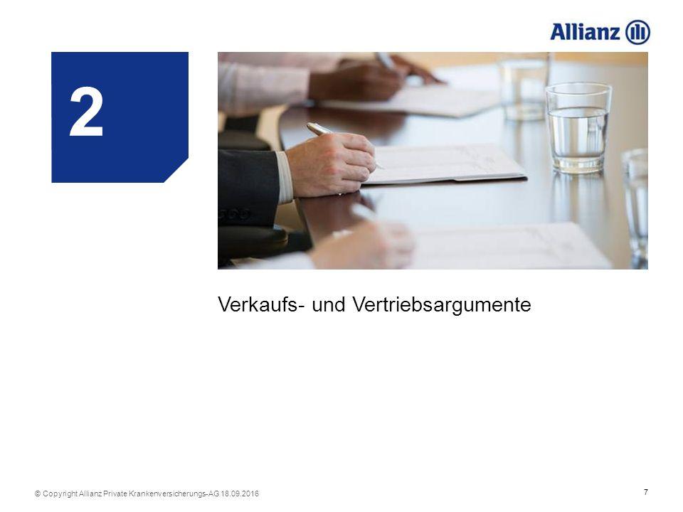 18 © Copyright Allianz Private Krankenversicherungs-AG 18.09.2016 Tarif ohne Alterungs- rückstellung Verzicht auf Risikoprüfung Baustein: Vorsorge Wertvoller Schutz über die gesetzlichen Untersuchungen hinaus.