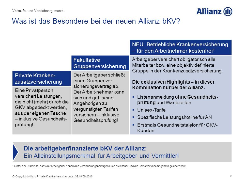 9 © Copyright Allianz Private Krankenversicherungs-AG 18.09.2016 Was ist das Besondere bei der neuen Allianz bKV.