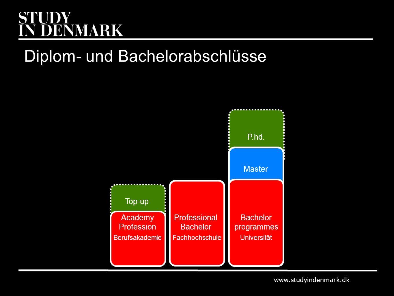 www.studyindenmark.dk Academy Profession Professional Bachelor programmes Top-up Master BerufsakademieFachhochschuleUniversität P.hd. Diplom- und Bach