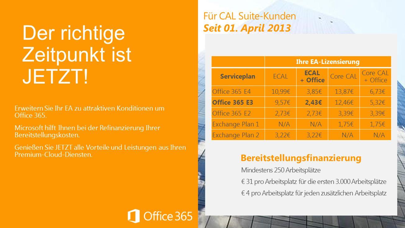Erweitern Sie Ihr EA zu attraktiven Konditionen um Office 365.