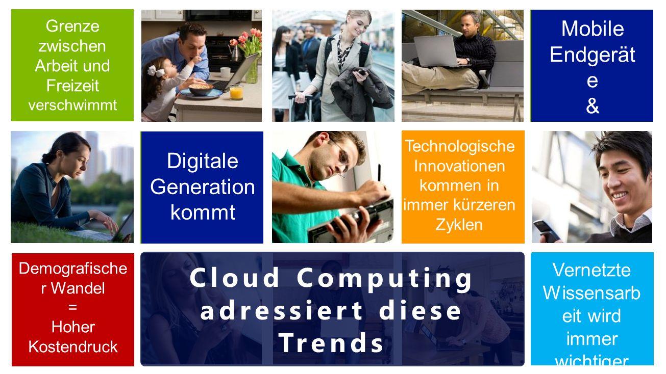 """Grenze zwischen Arbeit und Freizeit verschwimmt Mobile Endgerät e & """"BYOD Demografische r Wandel = Hoher Kostendruck Technologische Innovationen kommen in immer kürzeren Zyklen Digitale Generation kommt Vernetzte Wissensarb eit wird immer wichtiger Cloud Computing adressiert diese Trends"""