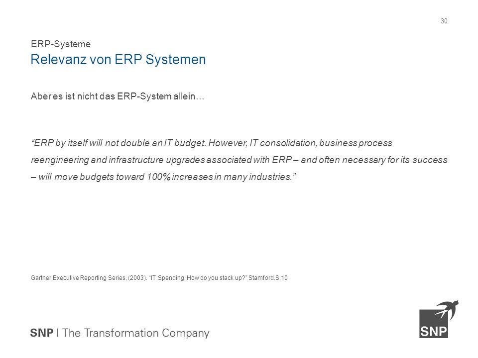 Aber es ist nicht das ERP-System allein… ERP by itself will not double an IT budget.