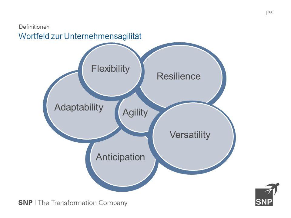 Definitionen Wortfeld zur Unternehmensagilität | 36 Flexibility Agility Adaptability Versatility Resilience Anticipation