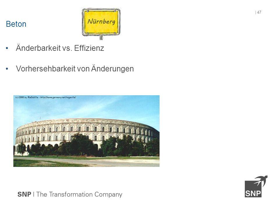 Änderbarkeit vs. Effizienz Vorhersehbarkeit von Änderungen Beton | 47
