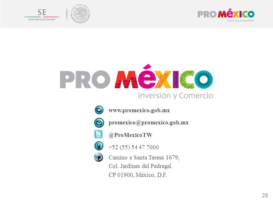 www.promexico.gob.mx promexico@promexico.gob.mx @ProMexicoTW +52 (55) 54 47 7000 Camino a Santa Teresa 1679, Col. Jardines del Pedregal CP 01900, Méxi
