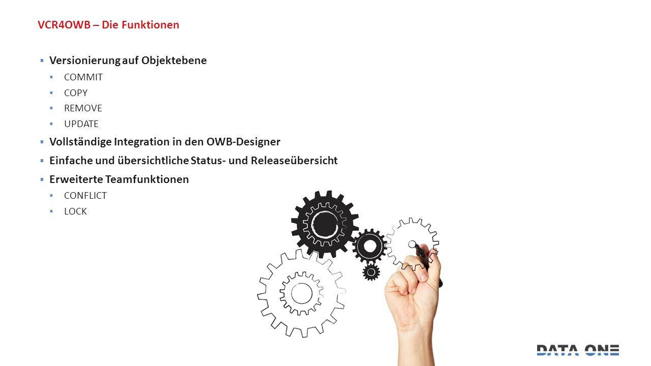 VCR4OWB – Die Funktionen  Versionierung auf Objektebene  COMMIT  COPY  REMOVE  UPDATE  Vollständige Integration in den OWB-Designer  Einfache und übersichtliche Status- und Releaseübersicht  Erweiterte Teamfunktionen  CONFLICT  LOCK
