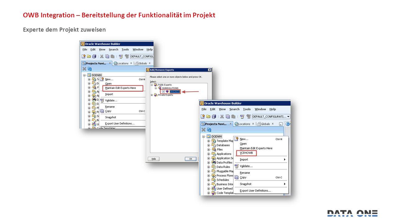 OWB Integration – Bereitstellung der Funktionalität im Projekt Experte dem Projekt zuweisen