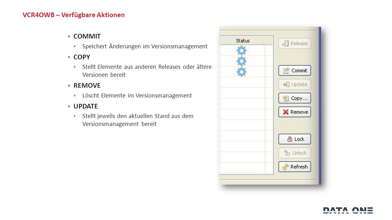 VCR4OWB – Verfügbare Aktionen  COMMIT  Speichert Änderungen im Versionsmanagement  COPY  Stellt Elemente aus anderen Releases oder ältere Versionen bereit  REMOVE  Löscht Elemente im Versionsmanagement  UPDATE  Stellt jeweils den aktuellen Stand aus dem Versionsmanagement bereit