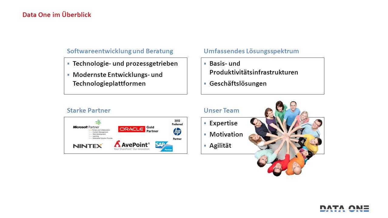 Data One im Überblick  Basis- und Produktivitätsinfrastrukturen  Geschäftslösungen Umfassendes Lösungsspektrum  Expertise  Motivation  Agilität Unser Team Starke Partner  Technologie- und prozessgetrieben  Modernste Entwicklungs- und Technologieplattformen Softwareentwicklung und Beratung