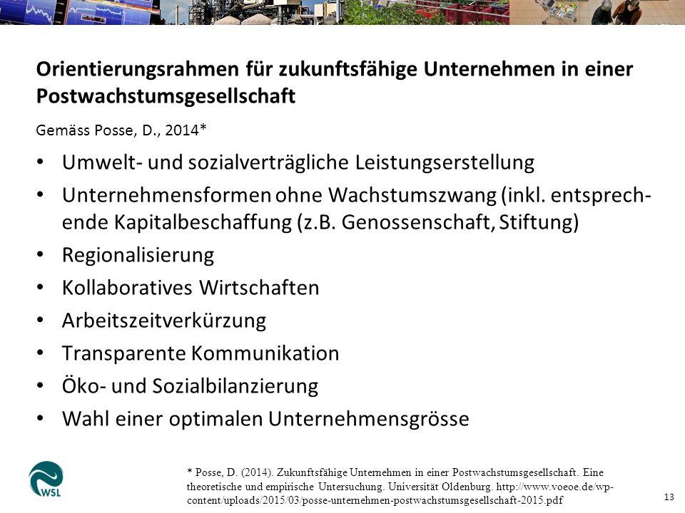 13 Orientierungsrahmen für zukunftsfähige Unternehmen in einer Postwachstumsgesellschaft Gemäss Posse, D., 2014* Umwelt- und sozialverträgliche Leistungserstellung Unternehmensformen ohne Wachstumszwang (inkl.