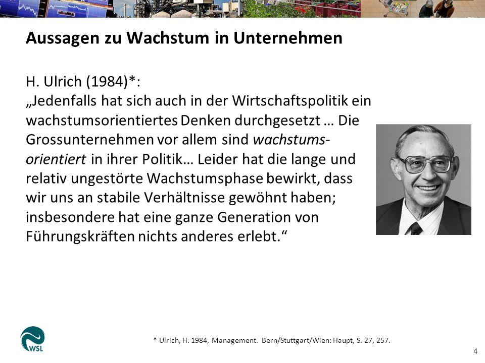 """H. Ulrich (1984)*: """"Jedenfalls hat sich auch in der Wirtschaftspolitik ein wachstumsorientiertes Denken durchgesetzt … Die Grossunternehmen vor allem"""