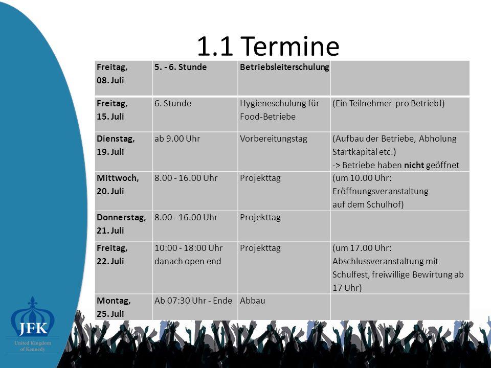 1.1 Termine Freitag, 08.Juli 5. - 6. Stunde Betriebsleiterschulung Freitag, 15.